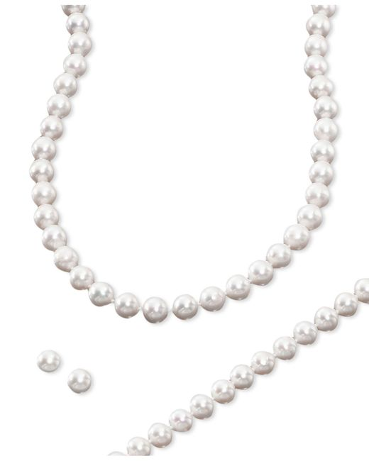 Macy's | Multicolor Cultured Freshwater Pearl 3 Piece Set, Necklace, Earrings And Bracelet | Lyst