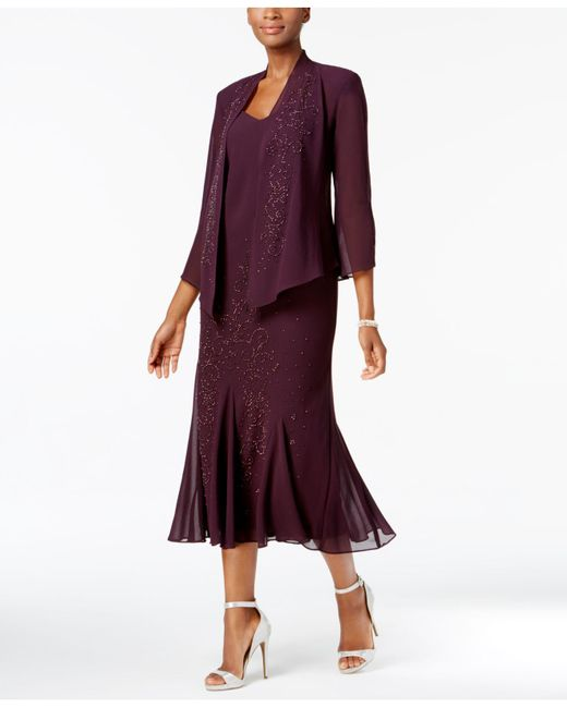 R & M Richards | Purple Dress And Jacket, Embellished Chiffon | Lyst