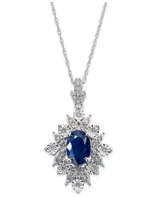 Macy's - Metallic Sapphire (1 Ct. T.w.) And Diamond (1/5 Ct. T.w.) Pendant Necklace In 14k White Gold - Lyst
