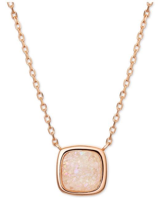 """Macy's - Metallic Pink Druzy Pendant Necklace In 18k Rose Gold-plated Sterling Silver, 16"""" + 2"""" Extender - Lyst"""