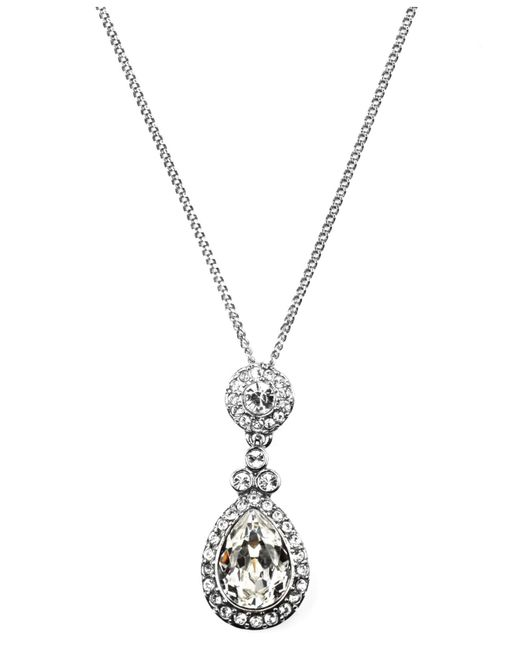 Givenchy - Metallic Necklace, Silver-tone Swarovski Element Teardrop Pendant Necklace - Lyst
