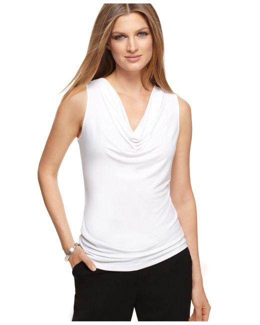Calvin Klein - White Sleeveless Cowl Neck Tank - Lyst