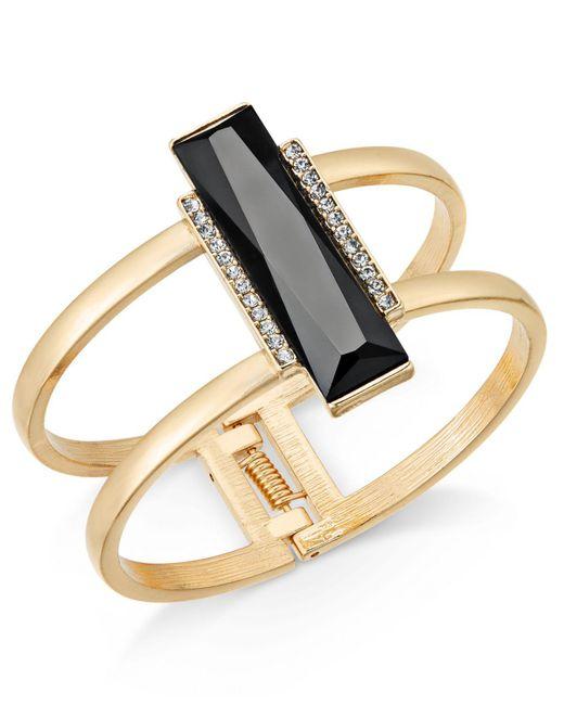 INC International Concepts | Black Gold-tone Pavé & Jet Stone Bar Hinged Bangle Bracelet | Lyst