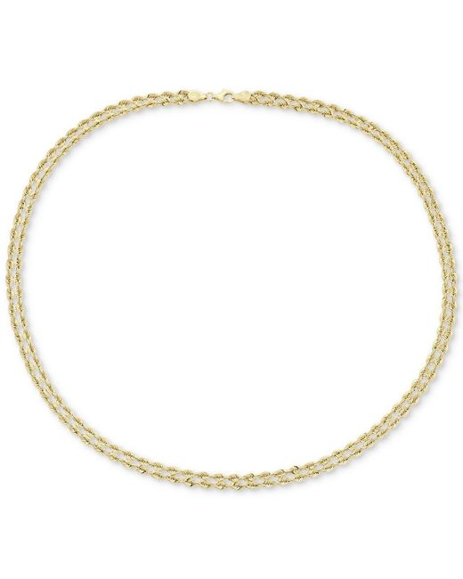 """Macy's - Metallic 18"""" Double Twisted Heart Chain Collar Necklace In 14k Gold - Lyst"""