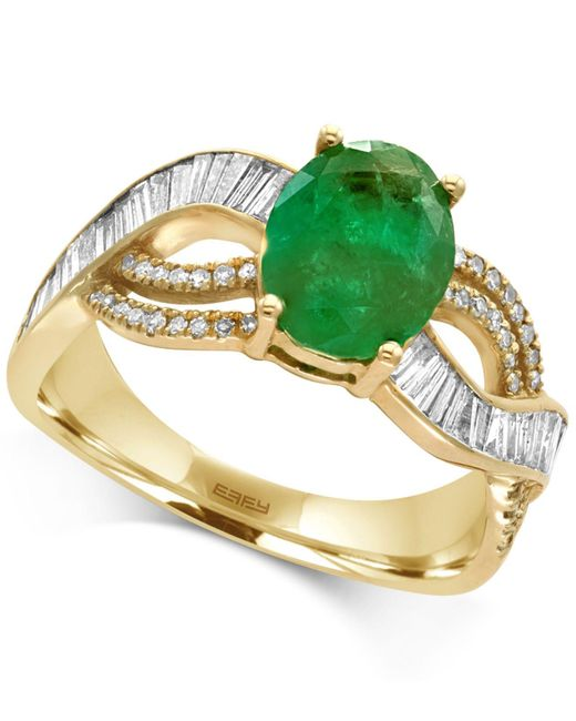 Effy Collection | Metallic Emerald (1-1/2 Ct. T.w.) And Diamond (1/2 Ct. T.w.) Ring In 14k Gold | Lyst
