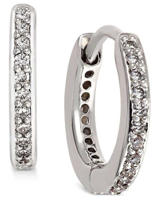 Danori - Metallic Silver-tone Crystal Pavé Huggy Hoop Earrings - Lyst