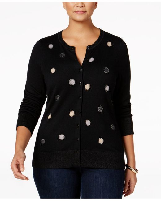 Charter Club | Black Plus Size Embellished Cardigan, Only At Macy's | Lyst