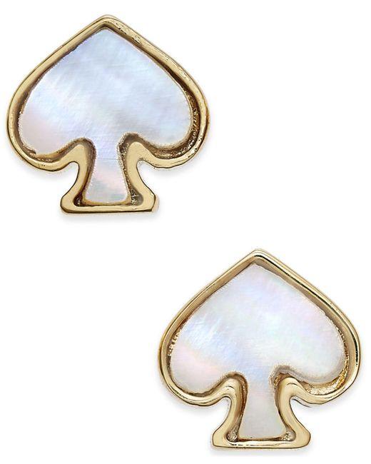 Kate Spade | Metallic Signature Spade Gold-tone Imitation Mother-of-pearl Earrings | Lyst