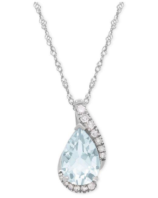 Macy's | Metallic Aquamarine (1-1/6 Ct. T.w.) And Diamond Accent Teardrop Pendant Necklace In 14k White Gold | Lyst