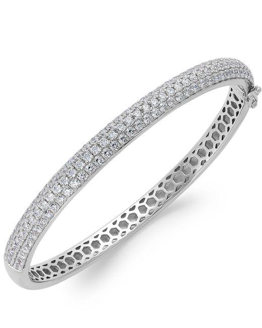 Arabella - Metallic Swarovski Zirconia Pave Bangle Bracelet In Sterling Silver (5 Ct. T.w.) - Lyst