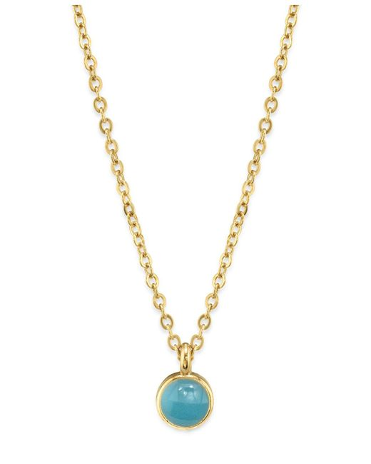 """2028 - Blue 14k Gold Dipped Small Round Enamel Necklace 16"""" - Lyst"""