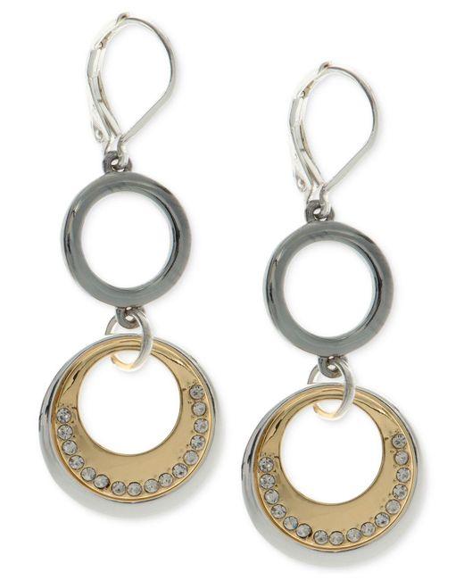 Nine West   Metallic Tri-tone Pavé Circle Double Drop Earrings   Lyst