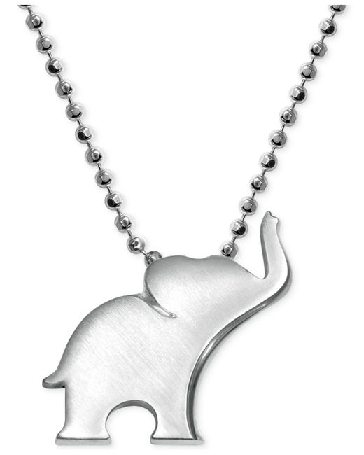 Alex Woo - Metallic Little Luck By Elephant Pendant Necklace In Sterling Silver - Lyst