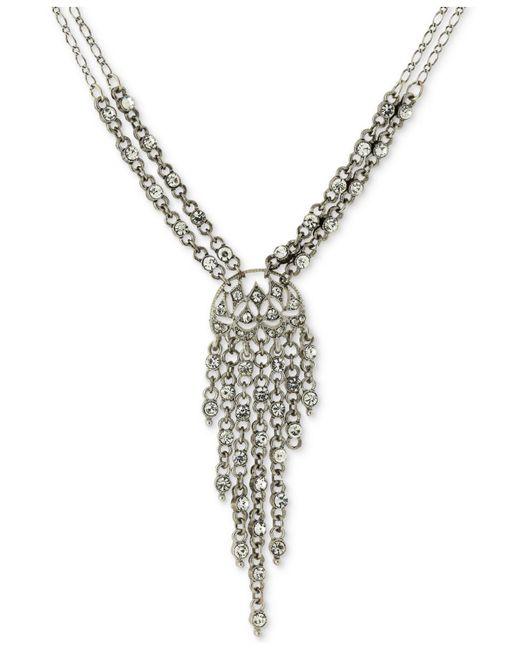 2028 - Metallic Silver-tone Multi-crystal Lariat Necklace - Lyst