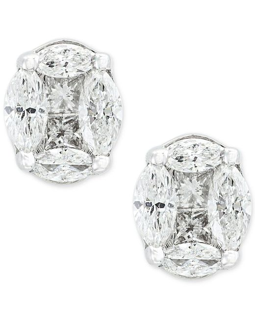 Effy Collection | Metallic Diamond Stud Earrings (1-1/8 Ct. T.w.) In 14k White Gold | Lyst