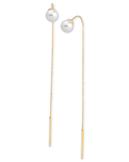 Majorica | Metallic 18k Gold-plated Stainless Steel Imitation Pearl Threader Earrings | Lyst