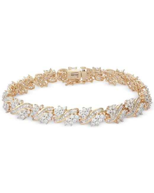 Macy's | Metallic Diamond Cluster Bracelet (5 Ct. T.w.) In 10k Gold | Lyst