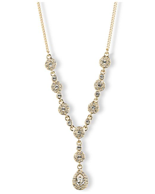 Givenchy | Metallic Silver-tone Crystal Y Necklace | Lyst