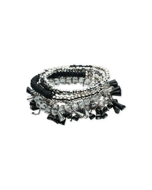 ABS By Allen Schwartz | Metallic Silver-tone Multi-bead Multi-row Stretch Bracelet | Lyst