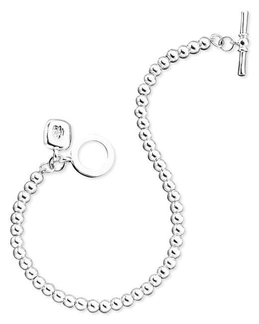 Lauren by Ralph Lauren | Metallic Silver-tone Metal Bead Bracelet (4 Mm) | Lyst