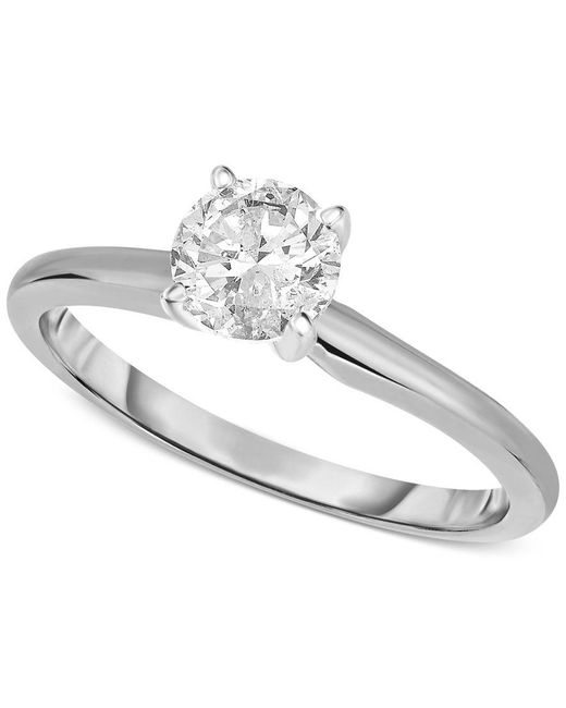 Macy's   Metallic Engagement Ring, Certified Diamond (3/4 Ct. T.w.) And 14k White Or Yellow Gold   Lyst