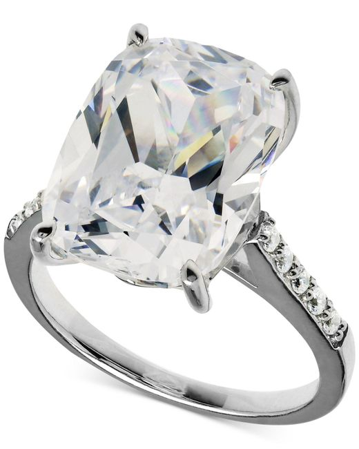 Arabella | Metallic Swarovski Zirconia Oval Ring In Sterling Silver (15-5/8 Ct. T.w.) | Lyst