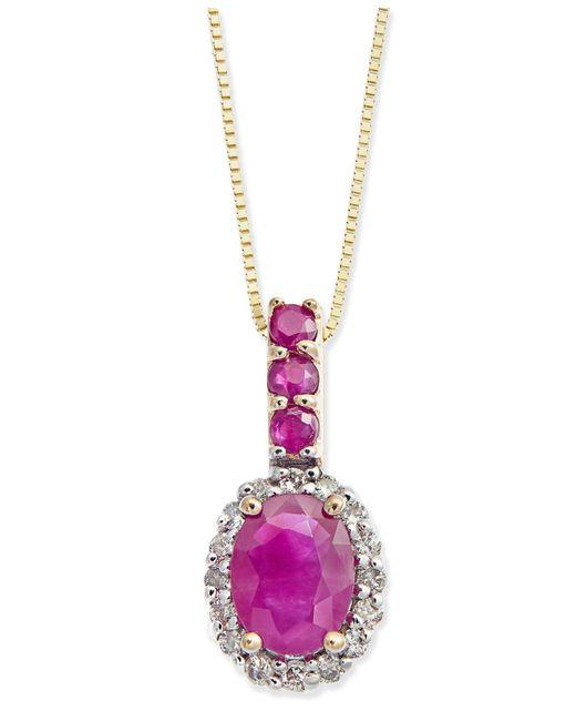 Macy's - Metallic Ruby (1-1/6 Ct. T.w.) & Diamond (1/6 Ct. T.w.) Halo Pendant Necklace In 14k Gold - Lyst