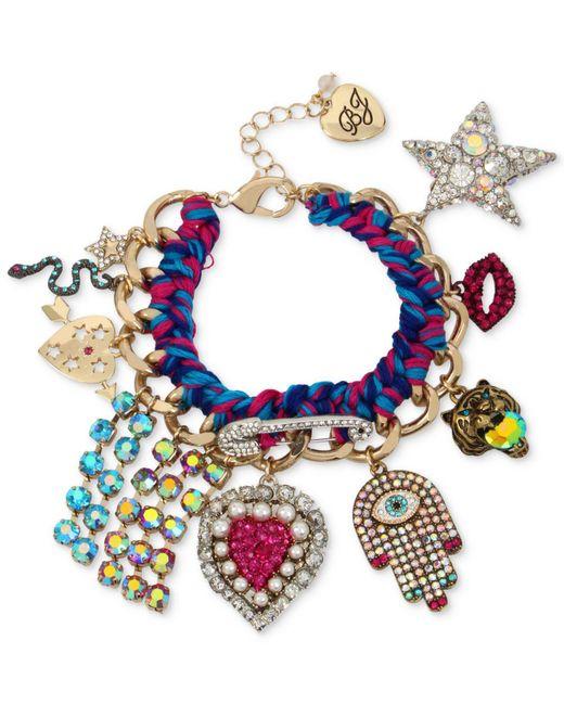 Betsey Johnson | Blue Gold-tone Woven Multi-charm Bracelet | Lyst
