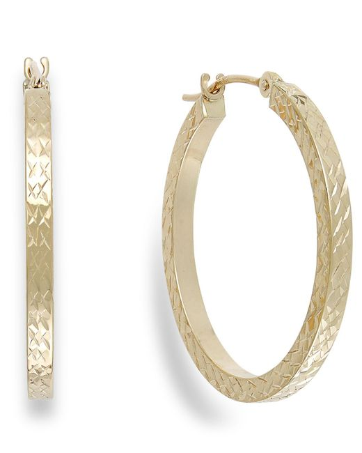 Macy's - Metallic Diamond-cut Hoop Earrings In 10k Gold - Lyst