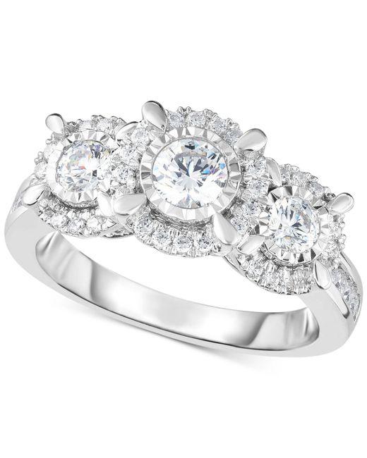 Macy's   Metallic Diamond Halo Trinity Ring (1 Ct. T.w.) In 14k White Gold   Lyst