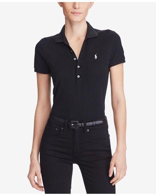 Polo Ralph Lauren   Black Skinny Stretch Polo Shirt   Lyst