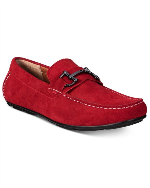 Alfani | Red Men's James Suede Drivers With Bit for Men | Lyst