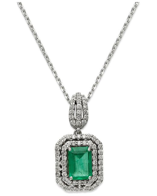 Macy's - 14k White Gold Necklace, Emerald (1 Ct. T.w.) And Diamond (3/8 Ct. T.w.) Two-row Pendant - Lyst