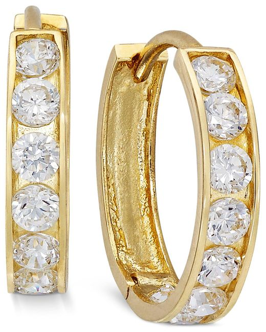 Macy's | Metallic Cubic Zirconia Small Hoop Earrings In 10k Gold | Lyst