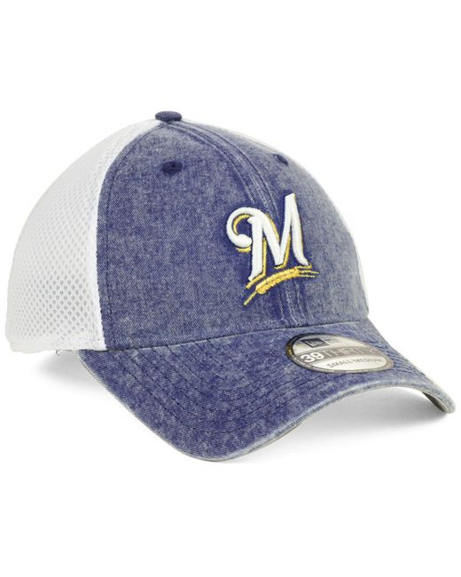 new product 69581 4f9a7 ... KTZ - Blue Milwaukee Brewers Hooge Neo 39thirty Cap for Men - Lyst ...