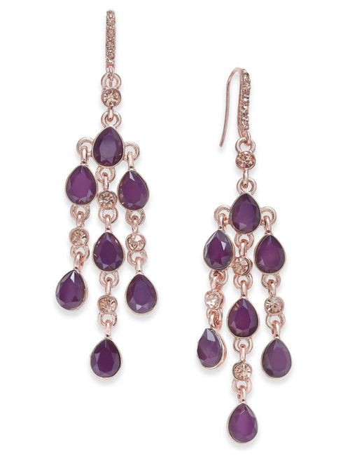 INC International Concepts | Purple Gold-tone Stone & Crystal Chandelier Earrings, | Lyst