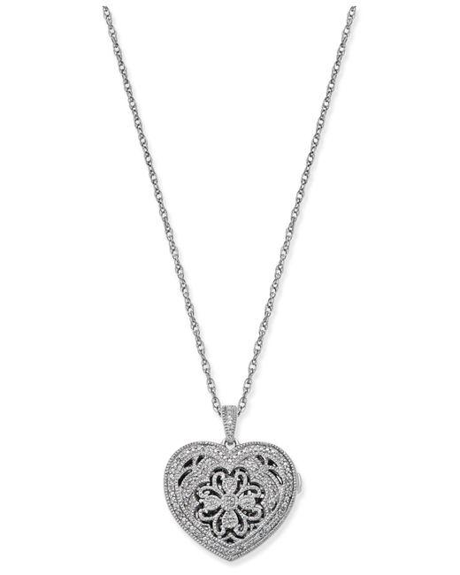 Macy's - Metallic Diamond Filigree Locket Pendant Necklace (1/7 Ct. T.w.) In Sterling Silver - Lyst