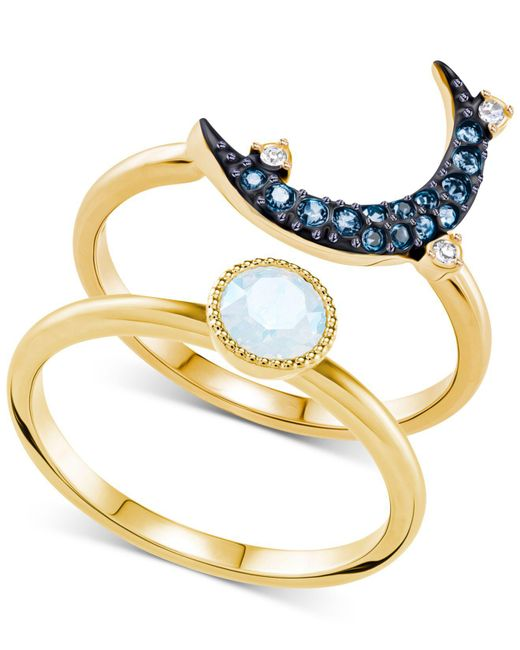 Swarovski - Multicolor Two-tone 2-pc. Set Crystal & Moon Rings - Lyst