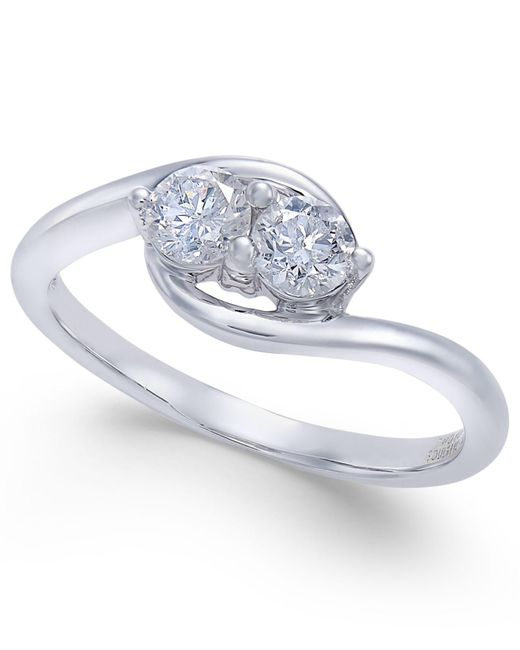 Macy's - Metallic Diamond Two Souls-one Love Twist Ring (1/2 Ct. T.w.) In 14k White Gold - Lyst