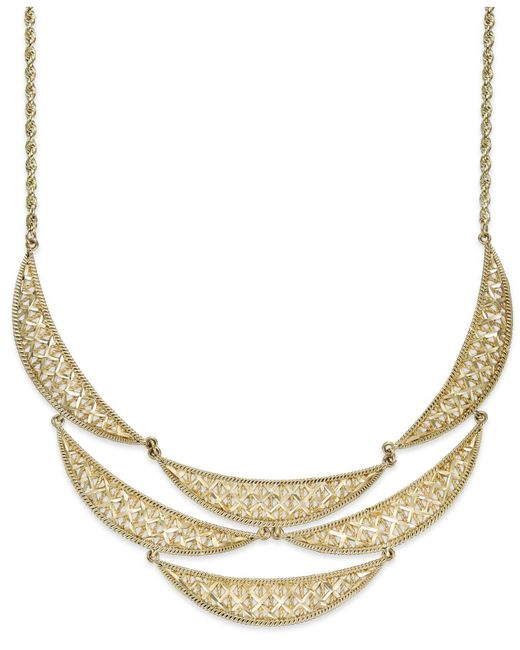 Macy's - Metallic Diamond-cut Crescent Frontal Bib Necklace In 14k Gold - Lyst