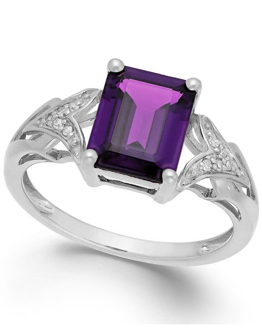Macy's - Multicolor Amethyst (2 Ct. T.w.) And Diamond Accent Ring In 14k White Gold - Lyst