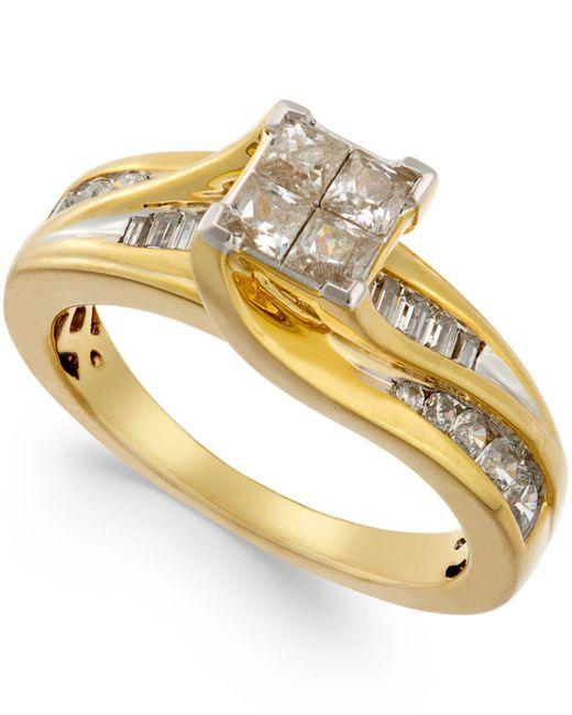 Macy's | Metallic Diamond Quad-head Swirl Ring (1 Ct. T.w.) In 14k Gold | Lyst