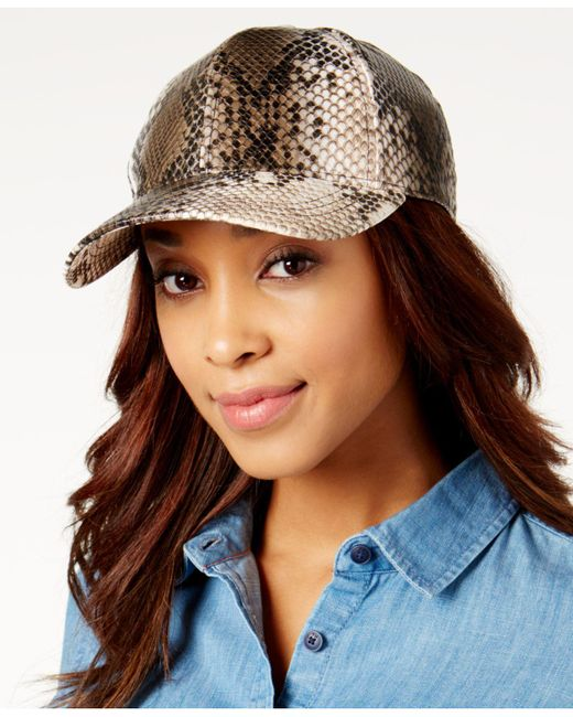 August Accessories - Natural Sneaky Snake-print Baseball Cap - Lyst