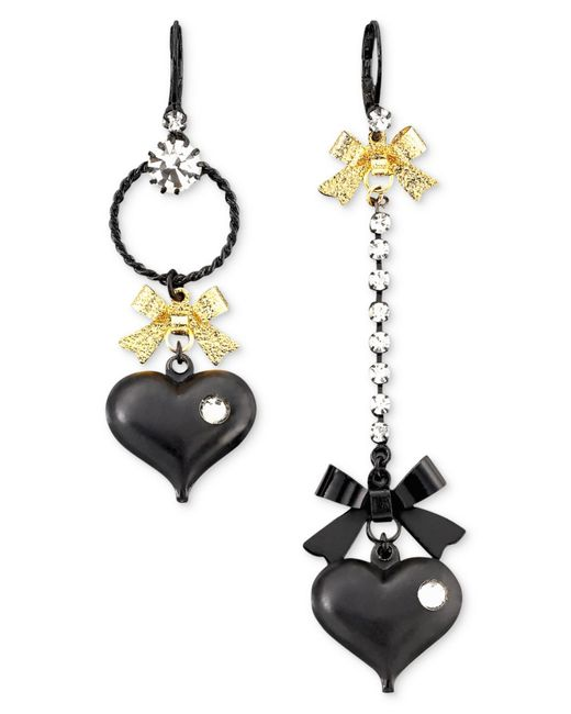 Betsey Johnson | Asymmetrical Black Heart Drop Earrings | Lyst