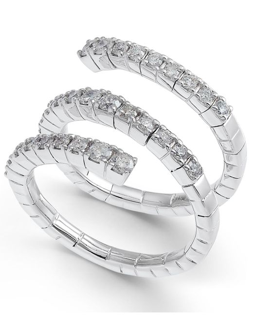Macy's - Metallic Diamond Triple Row Coil Ring (7/8 Ct. T.w.) In 14k White Gold - Lyst