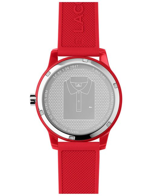 ... Lacoste - 12.12 Red Silicone Strap Watch 42mm for Men - Lyst ...