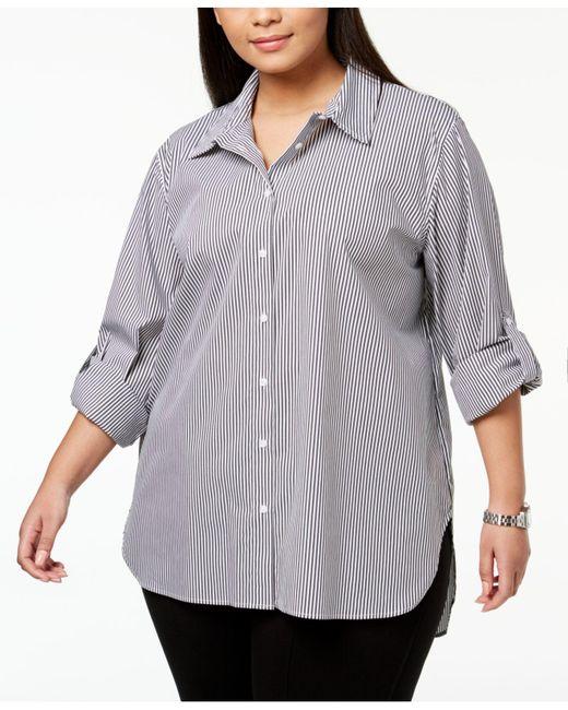 Calvin Klein - Multicolor Plus Size Faux-pearl-stud Boyfriend Shirt - Lyst