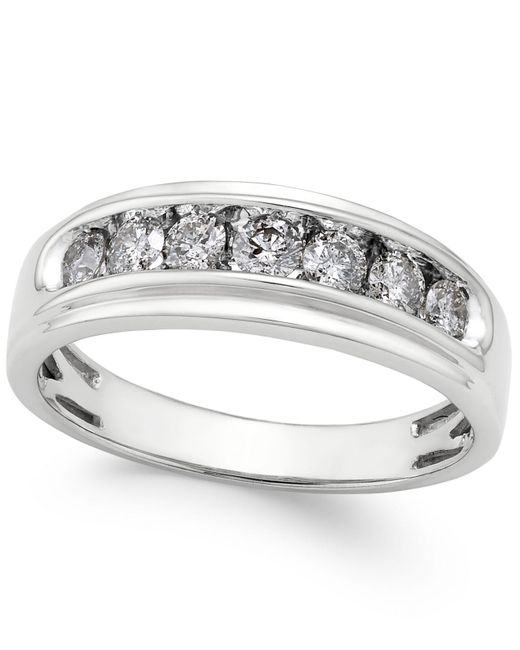 Macy's - Metallic Men's Diamond Band (3/4 Ct. T.w.) In 10k White Gold - Lyst