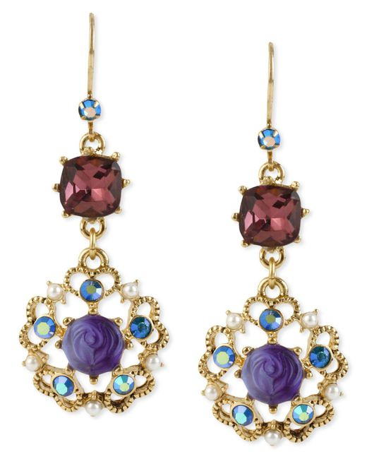 Betsey Johnson - Metallic Antique Gold-tone Flower Medallion Crystal Drop Earrings - Lyst