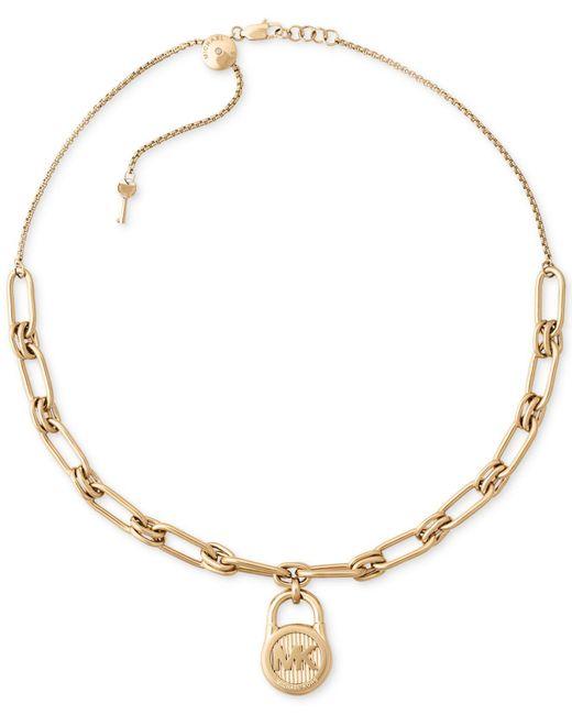 Michael Kors | Metallic Gold-tone Stainless Steel Padlock Charm Collar Necklace | Lyst